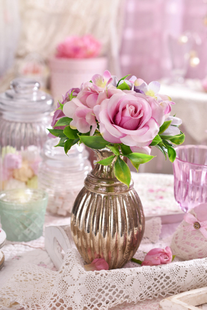Bunch of pink flowers in vase on the table in romantic shabby bunch of pink flowers in vase on the table in romantic shabby chic style interior stock mightylinksfo