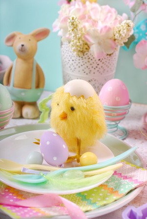 Easter table setting for kids with decorations in pastel colors Stock Photo - 96146309  sc 1 st  123RF.com & Easter Table Setting For Kids With Decorations In Pastel Colors ...