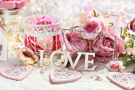 romantic decoration with pink roses and hearts in retro style for Valentine or wedding day