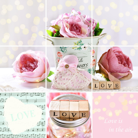 pastel color collage with love symbols for Valentines or weddings Reklamní fotografie