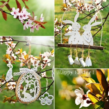 easter collage with spring blooming trees and hanging white wooden decorations Stockfoto - 123715318