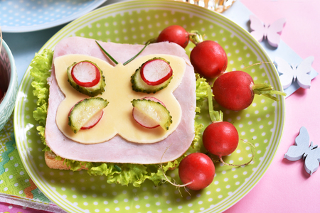 healthy breakfast for kids with funny sandwich with cheese butterfly shape, ham and radish Stockfoto - 123714262