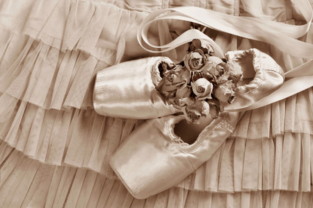flat lay with pink ballet pointe shoes and dried roses lying on tulle dress Stockfoto - 123714276