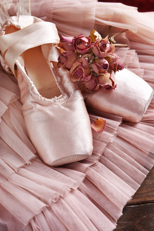 still life with pink ballet pointe shoes and dried roses on tulle dress