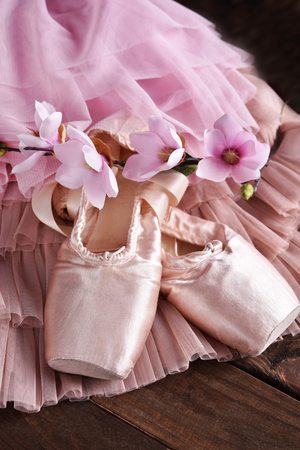 still life with pink ballet pointe shoes and magnolia flowers on tulle dress Stockfoto - 123714278