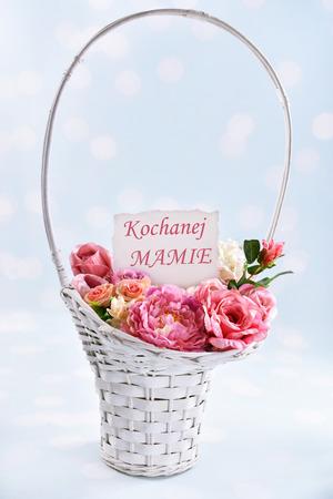 a big wicker basket of flowers