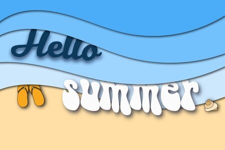 hello summer paper art background with blue sea waves, beach and inscription