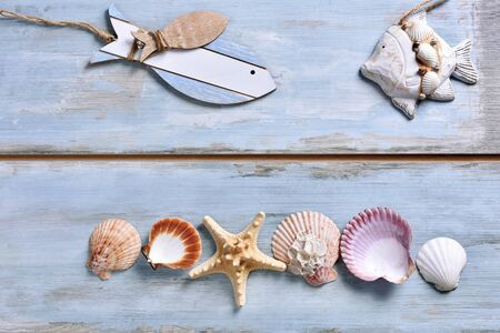 summer holidays flat lay with fish shape decors and shells lying on blue wooden background