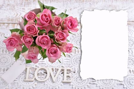 love background with top view of the bunch of beautiful fresh pink roses and copy space for own text