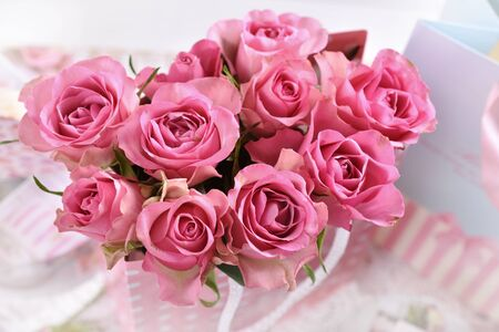 top view of the bunch of beautiful fresh pink roses