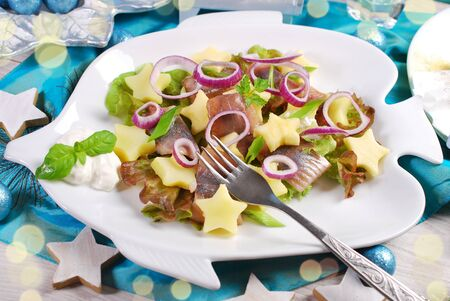 herring, potato, apple, onion and sour cream salad on fish shaped plate for Christmas