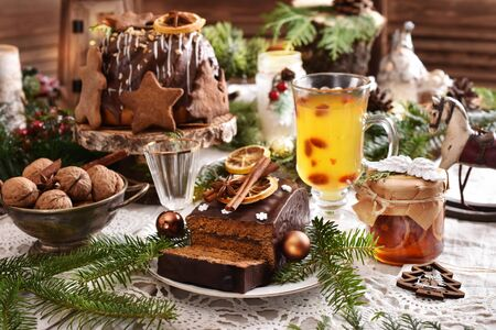 traditional Polish Christmas  pastries on festive table in rustic style interior Zdjęcie Seryjne