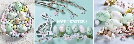 easter collage with colorful eggs and traditional spring decors in pastel colors