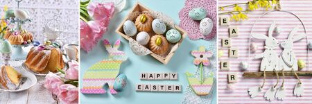 easter collage with traditional cakes and spring decors in pastel colors