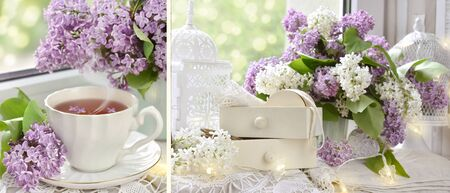 romantic vintage style collage with lilac blossoms , cup of tea and small drawers with lace trims on window sill