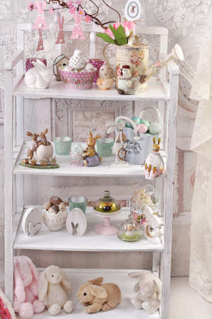 shabby chic style white shelves with easter decors display