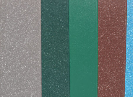 Colour metal samples including gray green brown blue photo