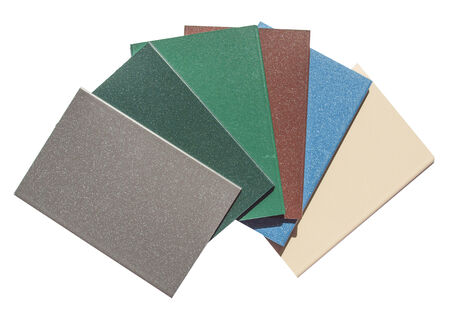 Colour metal samples isolated over white background photo