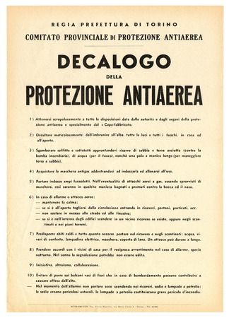 titled: TURIN, ITALY - JULY 13, 2014: Italian WW2 poster titled Decalogo della Protezione Antiaerea meaning Air Raid Precautions Editorial