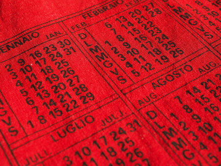almanac: Detail of an Italian calendar Stock Photo