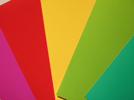 printed: Colour samples printed on paper - red, orange, yellow, green, pink