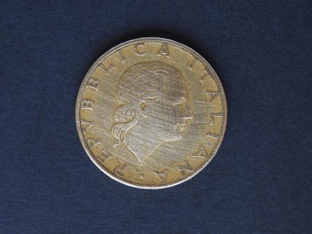 lira: Italian Lira (ITL) coin, currency of Italy (IT), 200 Lire rear