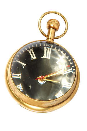 timepieces: old gold pocket hours on a white background