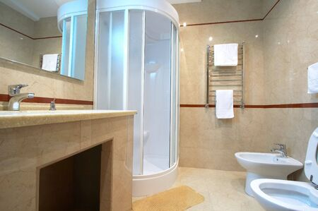 shower cubicle: Bathroom with a shower cubicle in hotel Stock Photo