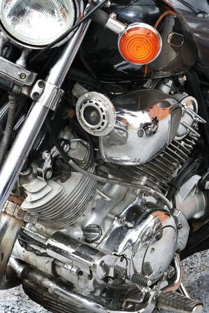 Reflection of a sports motorcycle in the engine Stock Photo - 759302