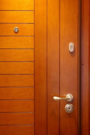 closed club: Wooden door with the lock and a spy hole