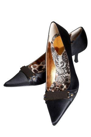 Negro mujeres con zapatos de tacón alto en un fondo blanco  Foto de archivo - 834995