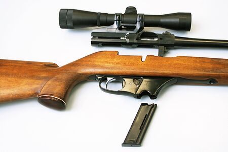 disassembled: The disassembled rifle with an optical sight