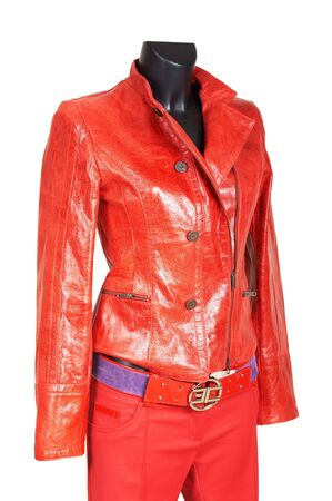Red a jacket and trousers on a white background photo