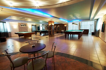 pool halls: Billiard room and cafe in modern hotel