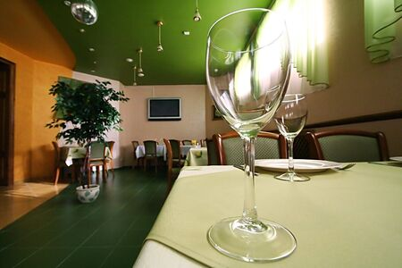 Glass for wine on a table at restaurant Stock Photo - 873293