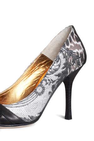 Female beautiful shoes on a white background photo