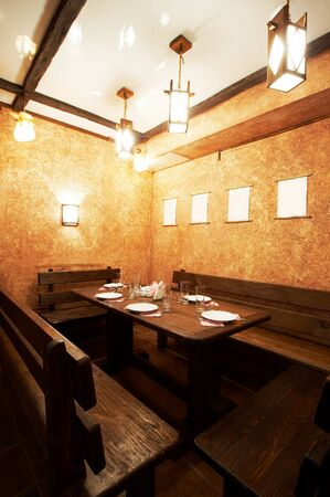 Wooden a table and benches at the Japanese restaurant Stock Photo - 873295