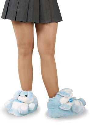 beautiful house slippers on a white background photo