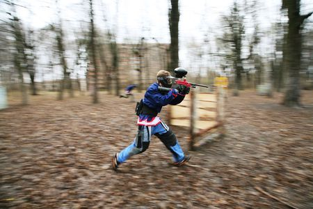 stimulated: The running person with a gun for paintball
