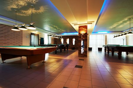 billiards room: Room for game in billiards in modern hotel