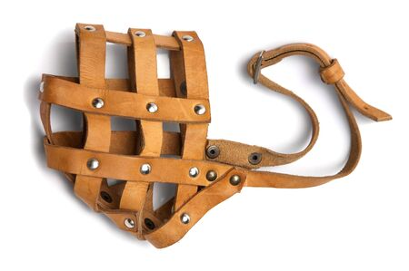 muzzle: Brown leather muzzle on a white background