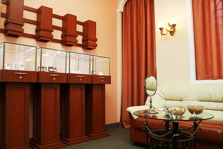 furniture store: Showroom of dear and modern jeweller shop Stock Photo