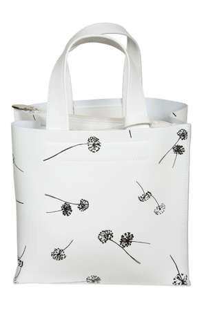 White bag with figure on a white background photo