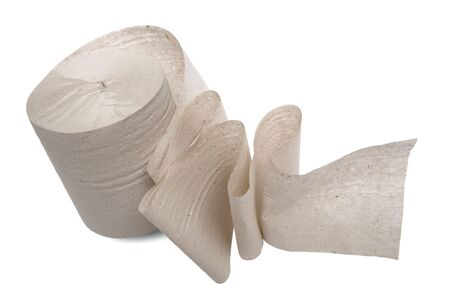 Roll of a toilet paper on a white background photo