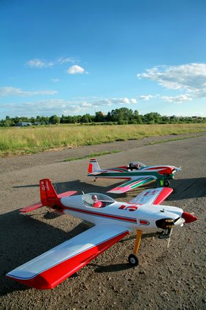 aerodrome: Two modern model aircrafts in air station Stock Photo