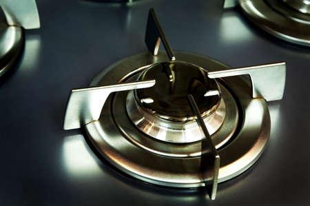 gas cooker: nueva cocina de metal de gas en la cocina moderna