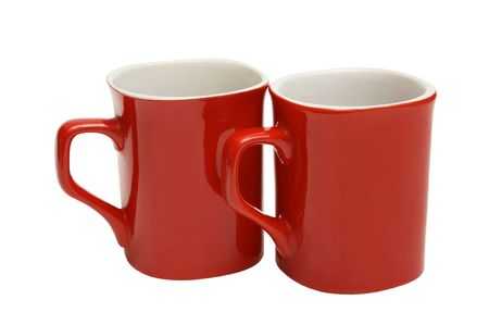 Two red cups on a white background photo