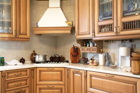 Gas cooker on modern and beautiful kitchen photo