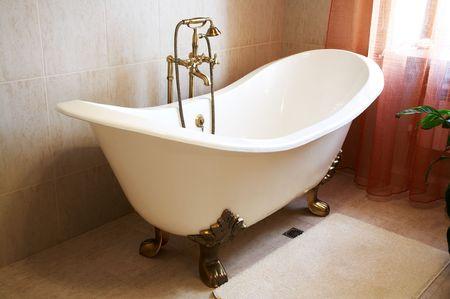 Beautiful, white bath in a modern bathroom photo