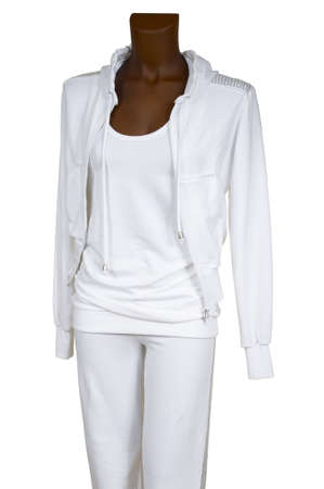 tracksuit: Female white tracksuit on a white background